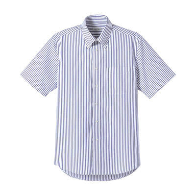 FACE MIX(フェイスミックス) 事務服 ユニセックス 半袖ストライプシャツ ネイビー L (直送品)