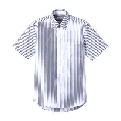 FACE MIX(フェイスミックス) 事務服 ユニセックス 大きいサイズ 半袖ストライプシャツ ネイビー LL (直送品)