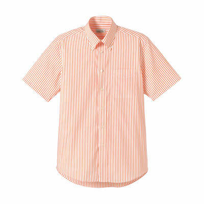 FACE MIX(フェイスミックス) 事務服 ユニセックス 大きいサイズ 半袖ストライプシャツ オレンジ 3L (直送品)
