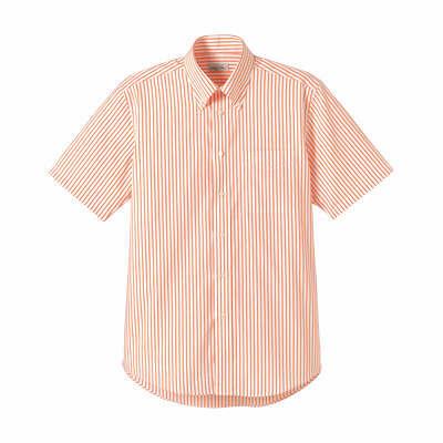 FACE MIX(フェイスミックス) 事務服 ユニセックス 大きいサイズ 半袖ストライプシャツ オレンジ 4L (直送品)