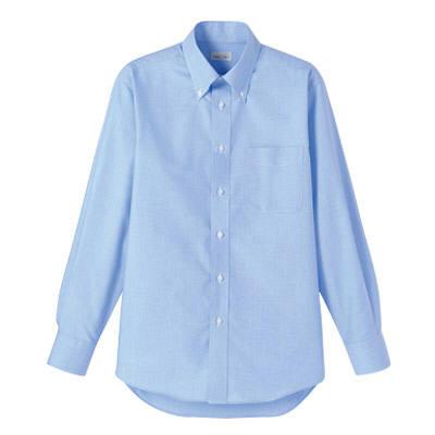 FACE MIX(フェイスミックス) 事務服 ユニセックス 大きいサイズ 長袖シャツ無地 ブルー LL (直送品)