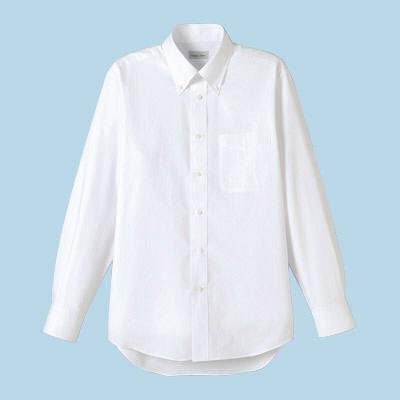 FACE MIX(フェイスミックス) 事務服 ユニセックス 大きいサイズ 長袖シャツ無地 ホワイト LL (直送品)