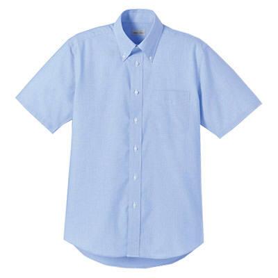 FACE MIX(フェイスミックス) 事務服 ユニセックス 大きいサイズ 半袖シャツ無地 ブルー LL (直送品)