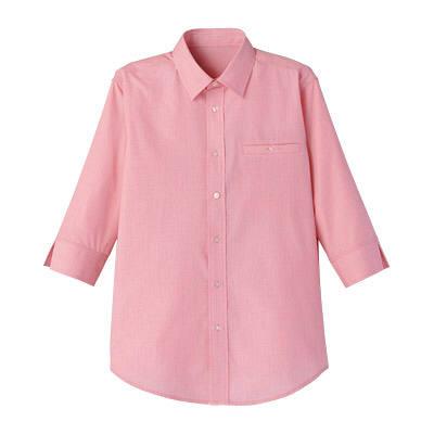 FACE MIX(フェイスミックス) 事務服 ユニセックス 大きいサイズ 七分袖シャツ レッド×ホワイト LL (直送品)