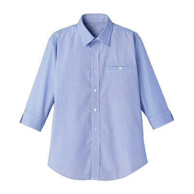 FACE MIX(フェイスミックス) 事務服 ユニセックス 七分袖シャツ ブルー×ホワイト L (直送品)