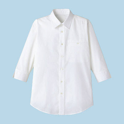 FACE MIX(フェイスミックス) 事務服 ユニセックス 小さいサイズ 七分袖シャツ ホワイト SS (直送品)