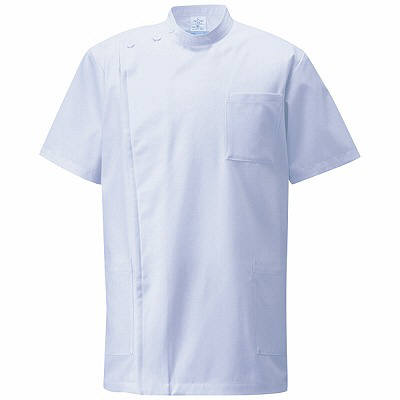 KAZEN 医務衣(男女兼用) 半袖 サックス S 762-71 (直送品)