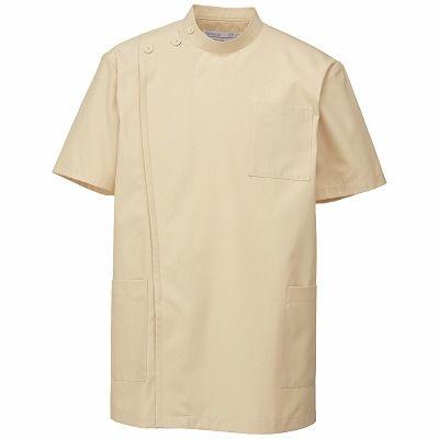KAZEN 医務衣(男女兼用) 半袖 ベージュ 3L 762-74 (直送品)