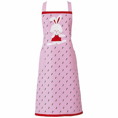 KAZEN エプロン うさぎ柄(ピンク) フリーサイズ 144-73 (直送品)