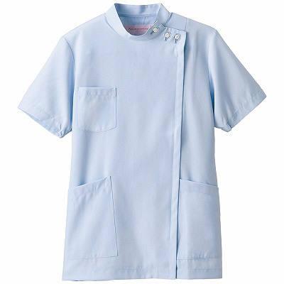フォーク 女子医務衣 サックス M 2089-2 1枚 (直送品)