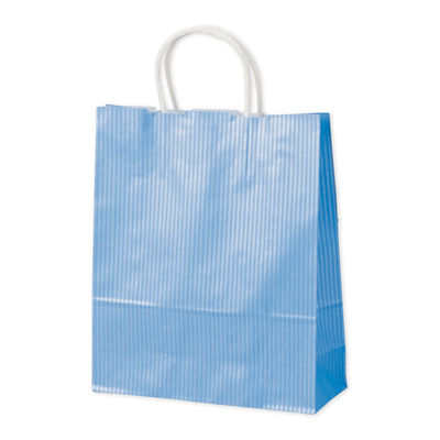 丸紐 手提げ紙袋 ブルー 小 50枚