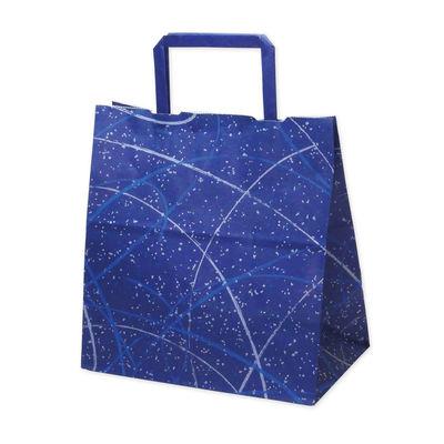 平紐 手提げ紙袋 ブルー 平小 50枚