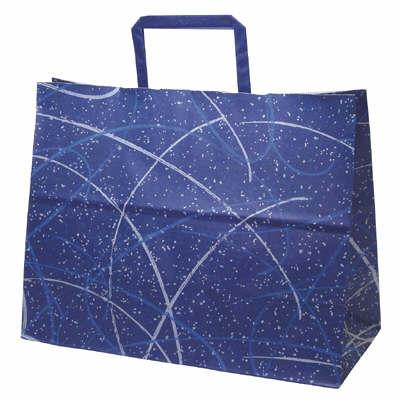 平紐 手提げ紙袋 ブルー 平大 50枚