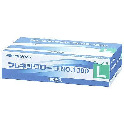 共和 ミリオン フレキシグローブ NO.1000 L 粉付き(パウダーイン) プラスチック 1箱(100枚入) (使い捨て手袋)