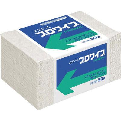 大王製紙 エリエール エリエールプロワイプソフトタオルホワイト帯どめLサイズ50枚 703146 1ケース(600枚) 356-4592 (直送品)