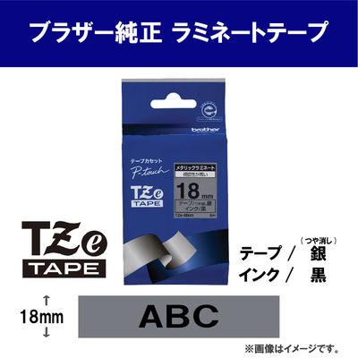 ブラザー ピータッチテープ 18mm ラミネート つや消し銀テープ(黒文字) 1個 TZe-M941