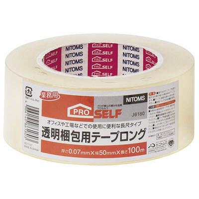 ニトムズ 透明梱包用テープ ロング 50mm×100m J6180 1巻