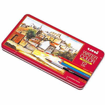 三菱鉛筆(uni) 水彩色鉛筆 ユニウォーターカラー 12色 UWC12C 1箱(6セット入) (取寄品)