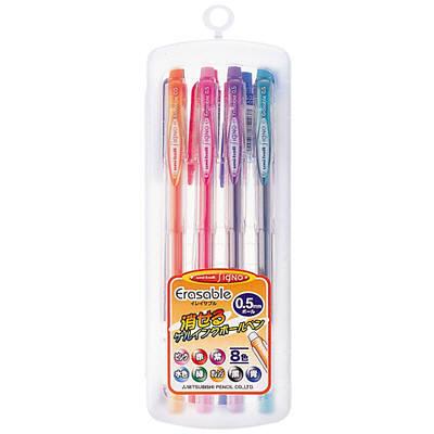 三菱鉛筆(uni) 消せるゲルインクボールペン0.5mm 8色セット UM101ER058C 1箱(10セット入) (取寄品)