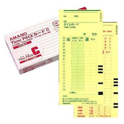 アマノ タイムカード TimeP@Ckカード(4欄印字)C 〔25日・10日締〕 1箱(100枚入)