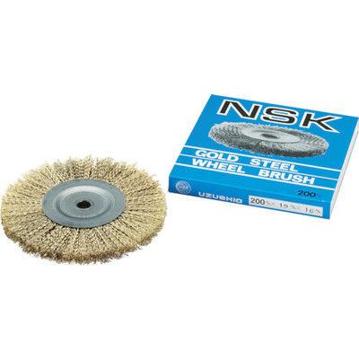 鳴門屋 NSK 鋼線ゴールドホイールブラシ W-9E 1個 332-4087 (直送品)