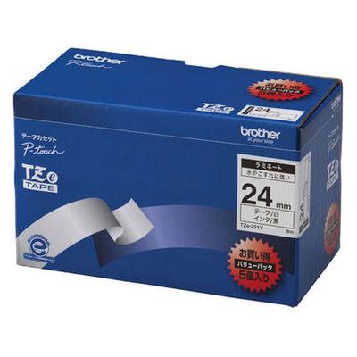 ブラザー ピータッチテープ ラミネート 24mm 白テープ(黒文字) 1パック(5個入) TZe-251V