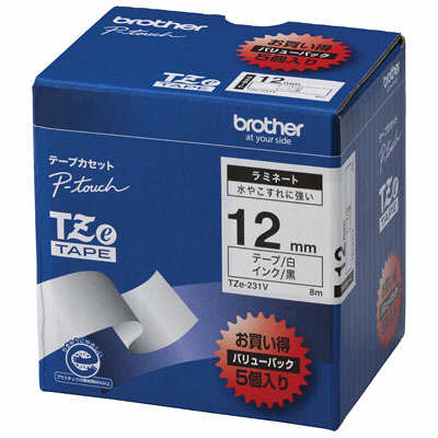 ブラザー ピータッチテープ ラミネート 12mm 白テープ(黒文字) 1パック(5個入) TZe-231V