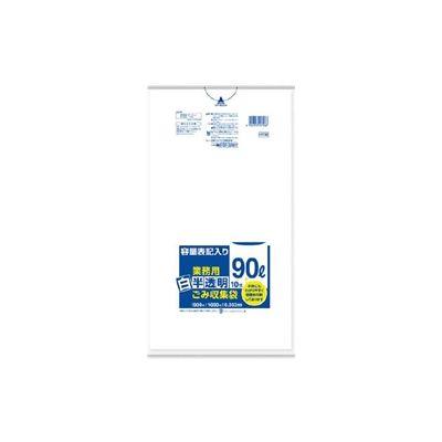 日本サニパック サニパック 容量表記入り白半透明ゴミ袋90L HT96 1セット(10枚:10枚入×1袋) 356ー4355 (直送品)