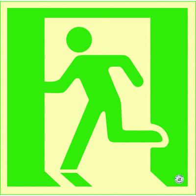 日本緑十字社 高輝度蓄光避難誘導ステッカー標識 非常口 120×120mm 消防認定品 360805 1枚 387-3544 (直送品)