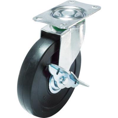 ユーエイキャスター(YUEI CASTER) キャスターS付自在車 径100ハードゴム車輪 E-100RHS 1個 379-5896 (直送品)