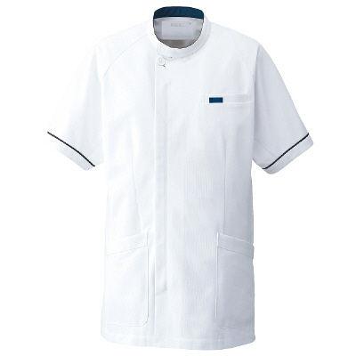 フォーク(株) 1014CR-1-BL 男子医務衣BL ホワイト/ネイビー 1着 (直送品)