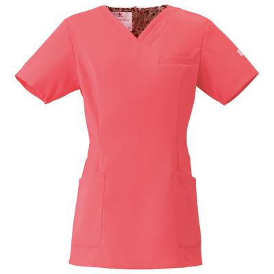 フォーク 医療白衣 ワコールHIコレクション レディススクラブ(後ろジップ) HI700-3 リリースピンク S (直送品)
