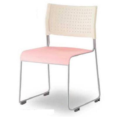 アイリスチトセ スタッキングチェア樹脂タイプ ホワイト/ピンク (直送品)
