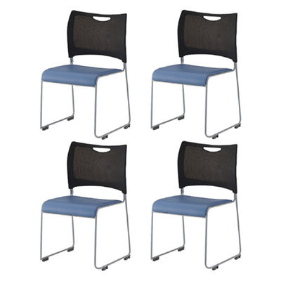 アイリスチトセ ミーティングチェア 樹脂メッシュスタッキングチェア ブラック/ブルー 4脚セット (直送品)