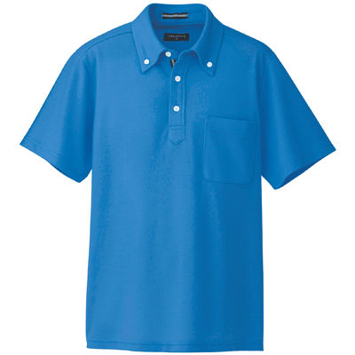AITOZ(アイトス) 半袖ボタンダウンポロシャツ(男女兼用) 介護ユニフォーム ブルー S AZ-7617-006 (直送品)