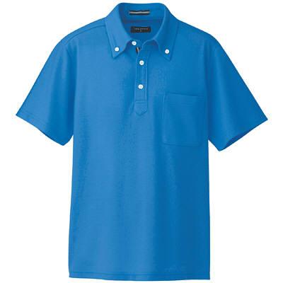 AITOZ(アイトス) 半袖ボタンダウンポロシャツ(男女兼用) 介護ユニフォーム ブルー 3L AZ-7617-006 (直送品)