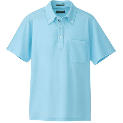 AITOZ(アイトス) 半袖ボタンダウンポロシャツ(男女兼用) 介護ユニフォーム サックス M AZ-7617-007 (直送品)