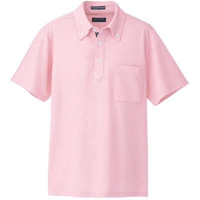 AITOZ(アイトス) 半袖ボタンダウンポロシャツ(男女兼用) 介護ユニフォーム ピンク LL AZ-7617-060 (直送品)