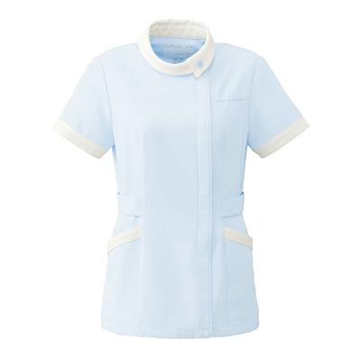 オンワード レディスジャケット(ナースジャケット) ロールカラー BR1040 サックスブルー×オフホワイト EL (取寄品)