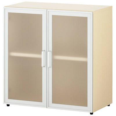 木製収納 2段 半透明アクリル両開き扉
