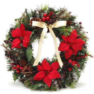 クリスマスリースМ レッドポインセチア