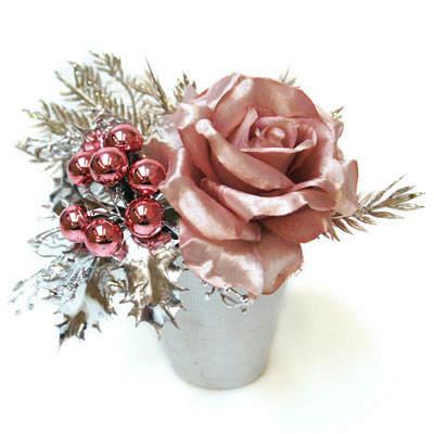 クリスマスアレンジ ピンクローズ PRAS‐0196 アカツキコーポレーション