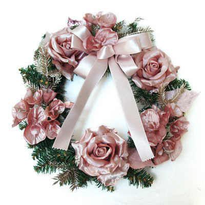 クリスマスリース Mサイズ ピンクローズ PRAS‐0188 アカツキコーポレーション
