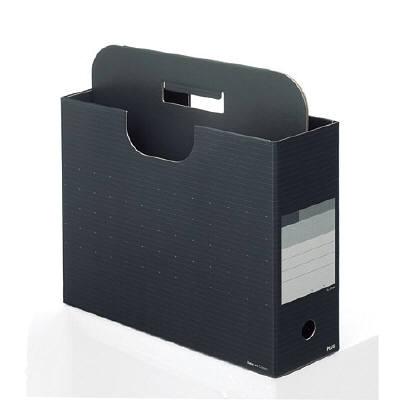 プラス ボックスファイル取っ手付き チャコールグレー A4-E 87649 1セット(5冊:1冊×5) (直送品)
