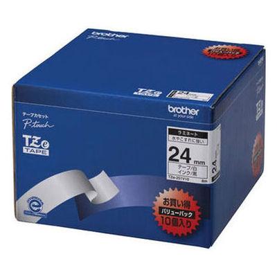 ブラザー ピータッチテープ ラミネート 24mm 白テープ(黒文字) 1パック(10個入)  TZe-251V10