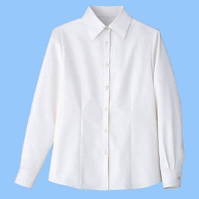 nuovo(ヌーヴォ) 事務服 小さいサイズ 長袖ブラウス ホワイト 7号 SB7502
