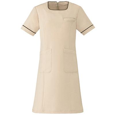 AITOZ(アイトス) スクエアネックパイピングワンピース(ナースワンピース) 医療白衣 半袖 ライトベージュ S 861113-012