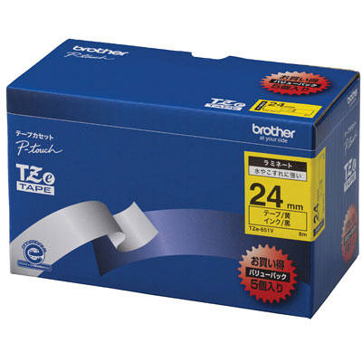 ブラザー ピータッチテープ ラミネート バリューパック 24mm 黄テープ(黒文字) 1パック(5個入) TZe-651V