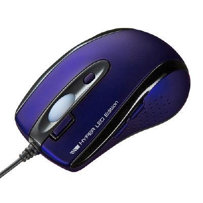 サンワサプライ 有線ハイパーLEDマウス(ネイビー) 青 MA-125HNV 1個 (直送品)