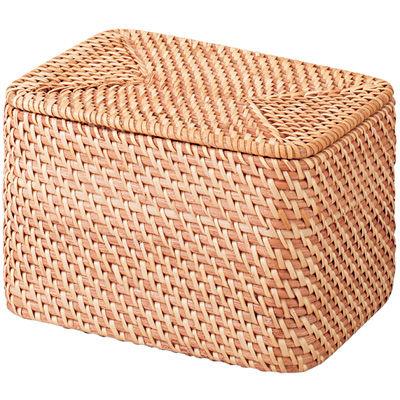 重なるラタン長方形ボックス・ふた付